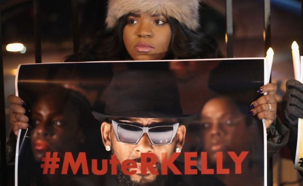 Demonstrators gather near the studio of singer R Kelly to call for a boycott of his music after allegations of sexual abuse against young girls were raised on the highly-rated Lifetime mini-series Surviving R Kelly, in Chicago, Illinois, 9 January 2019