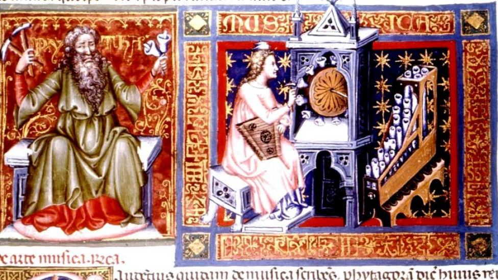 Pitágoras, con su música y sus cuerpos celestes
