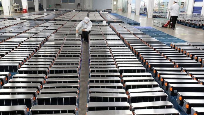 Xinwangda Electric Vehicle Battery Co. Ltd, which makes lithium batteries for electric cars and other uses, in Nanjing in China's eastern Jiangsu province