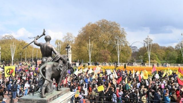 """Demonstrators during a march through central London during a """"Kill the Bill"""" protest in London"""