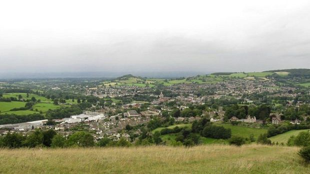 view of Stroud nestled in the countryside