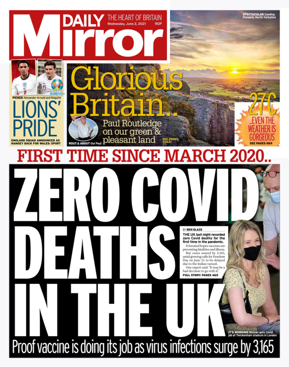 Daily Mirror front page 02/06/21