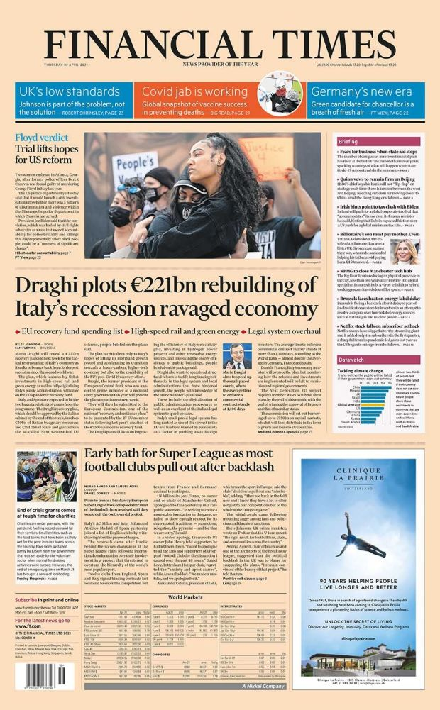 Financial Times front page 22.04.21