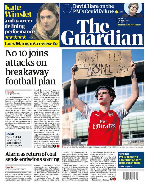 The Guardian front page 20.04.21