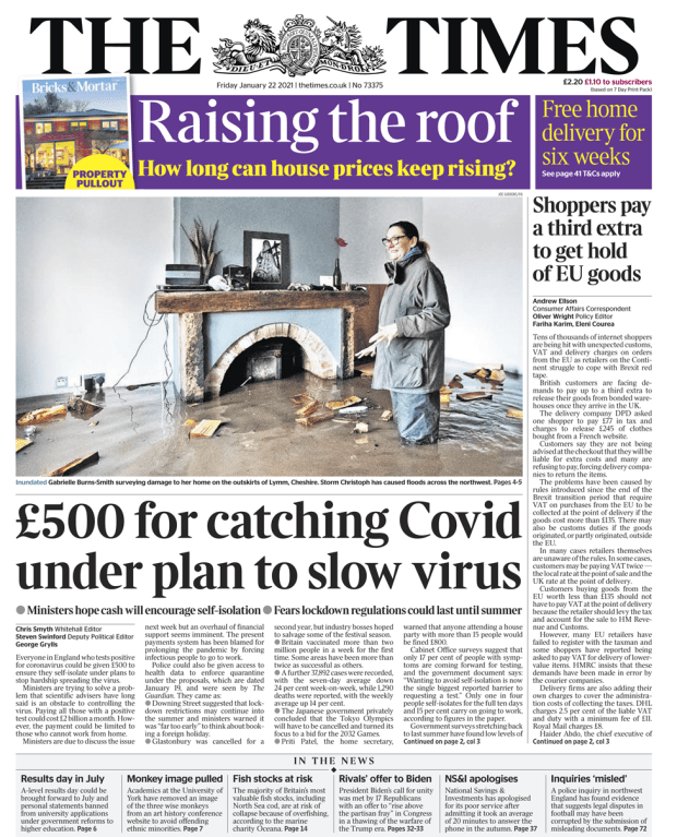 Times front page - 22/01/21