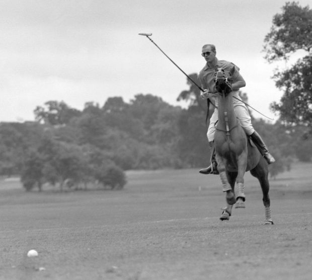 The Duke of Edinburgh at the Roehampton Club, where he was playing for Cowdray Park in the semi-finals of the Roehampton Cup