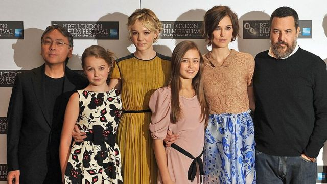 Kazuo Ishiguro, Isobel Meikle Small, Carey Mulligan Ella Purnell, Mark Romanek at a photo call for Never Let Me Go as part of the 54th BFI London Film Festival