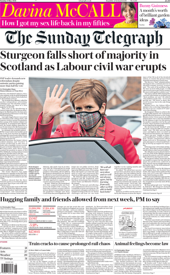 The Sunday Telegraph front page 9 May 2021
