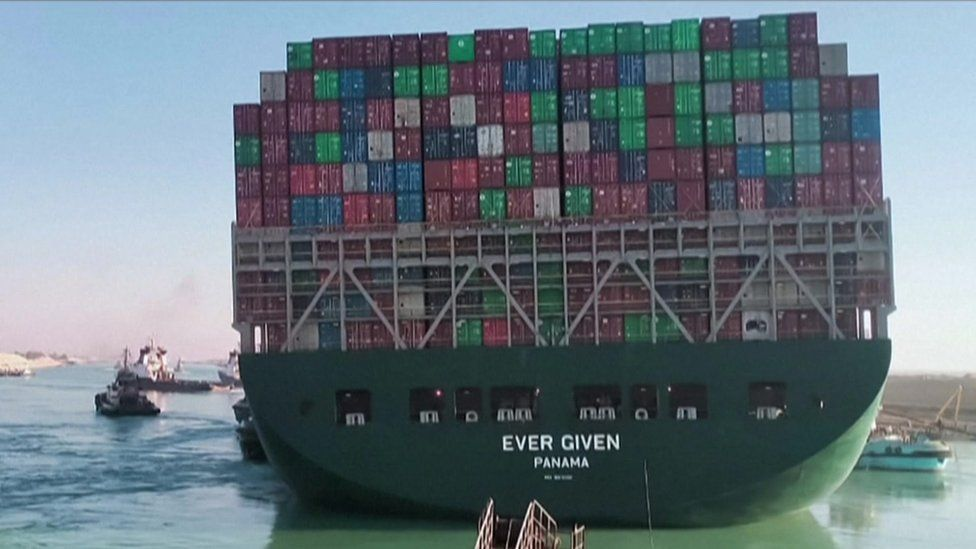 The container ship the Ever Given is seen after being dislodged from the Suez Canal