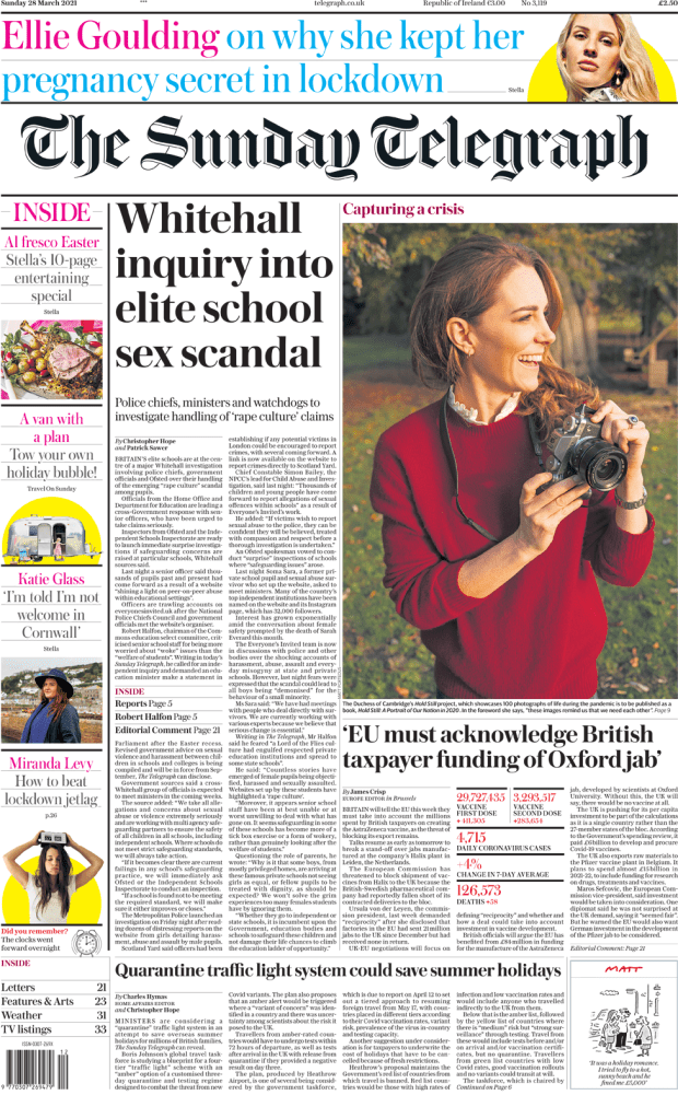 The Sunday Telegraph front page 28 March 2021