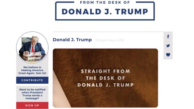 From the desk of Donald J Trump website