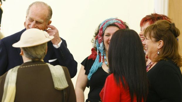 The Duke of Edinburgh joked with the Eastern dance group during a visit to St Thomas Community Primary School in Swansea