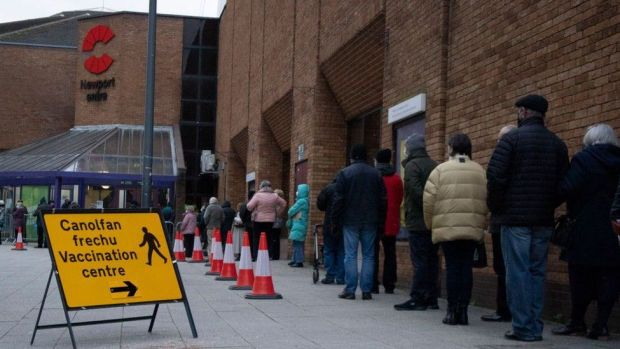 A queue at a vaccination centre in Newport