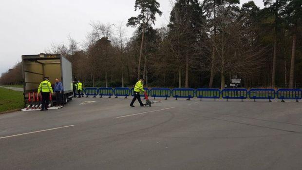 Police near the Sandringham Estate