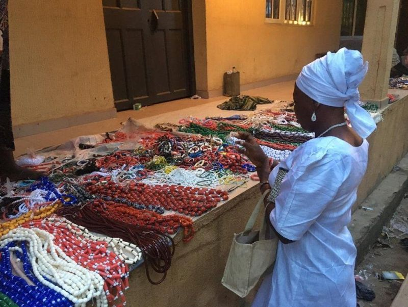 Traders are selling religious jewelry