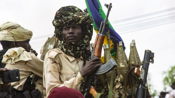 Sudan Liberation Movement fighters at a ceremony where Minni Minawi is appointed governor of Darfur, in el-Fasher, Sudan - Wednesday 8 August 2021