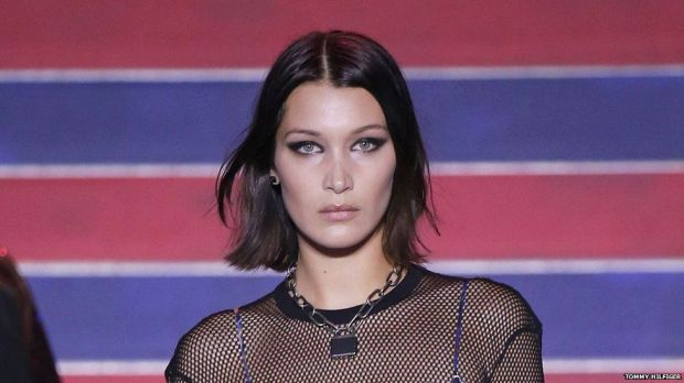 Bella Hadid also walked the Hilfiger show
