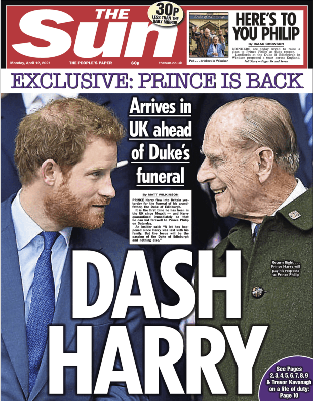 The Sun front page 12 April 2021