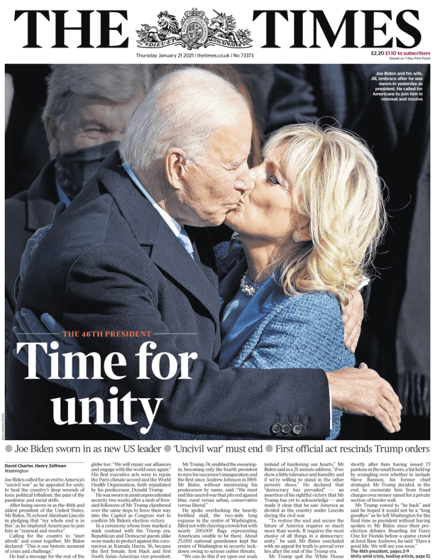 Times front page - 21/01/21