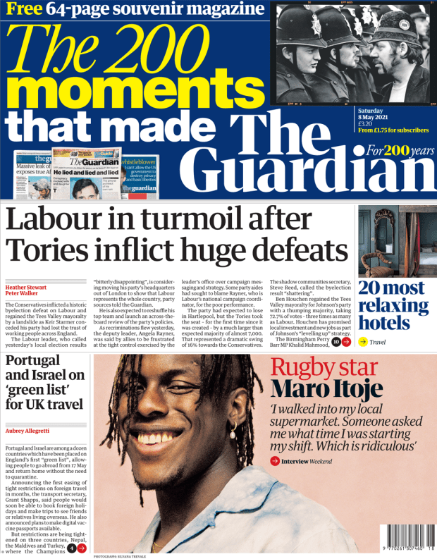 The Guardian front page 8 May 2021