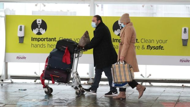 Passengers at Edinburgh airport, Scotland