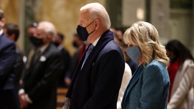 President-elect Joe Biden and Jill Biden attend services at the Cathedral of St Matthew in Washington, DC