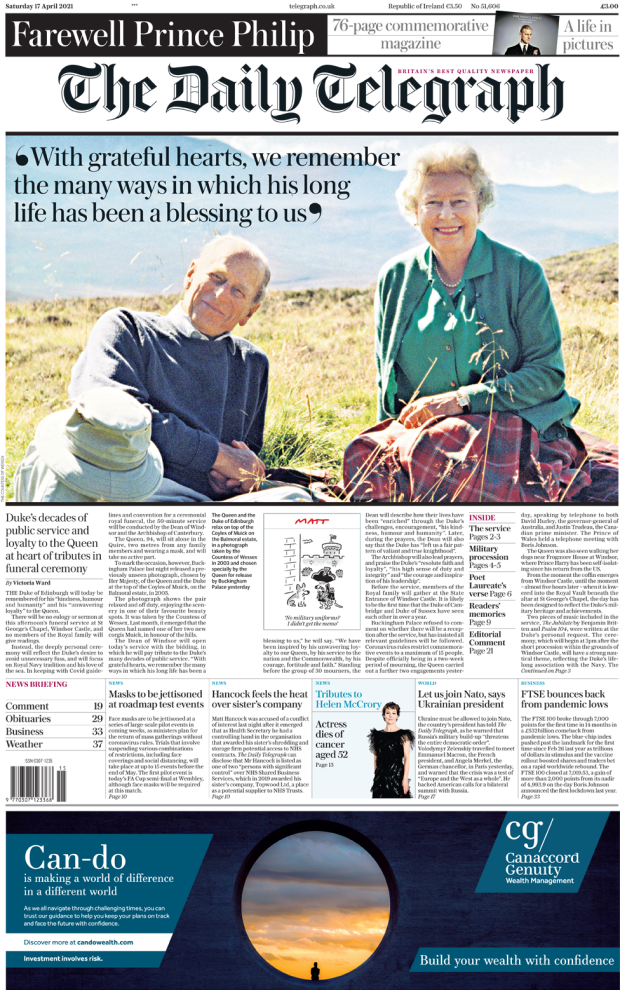 The Daily Telegraph front page 17 April 2021