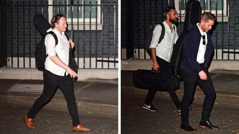 Composite image of musicians leaving Downing Street