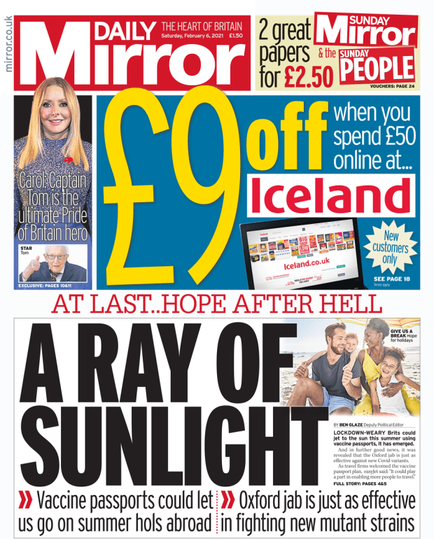 Daily Mirror front page 06/02/21