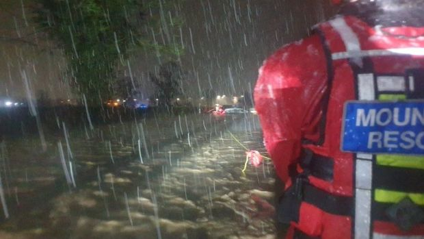 North East Wales Search and Rescue Rescue helped people whose homes were flooded in New Broughton, Wrexham