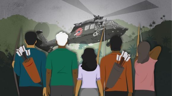 Illustration shows indigenous people resisting the arrival of a helicopter with vaccines against covid-19