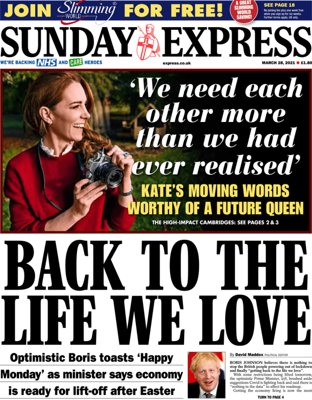 The Sunday Express front page 28 March 2021