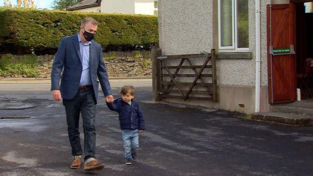 Plaid Cymru leader Adam Price arriving to vote at a polling station in Pontargothy, Nantgarredig, Carmarthenshire