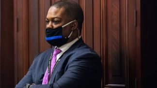 Capitol Police Officer Eugene Goodman inside the impeachment trial