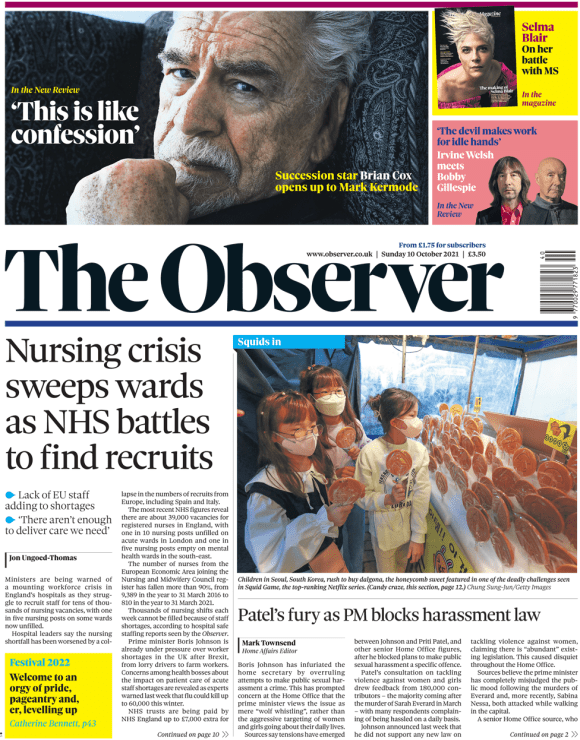 The Observer front page 10 October 2021