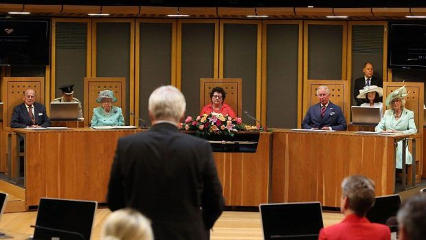 The Duke of Edinburgh with the Queen at the royal opening of the fifth session of the National Assembly for Wales in 2016