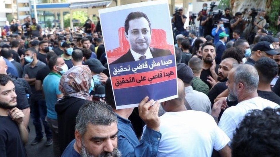 Protest in Beirut against the judge investigating last year's blast at the city's port (14 October 2021)
