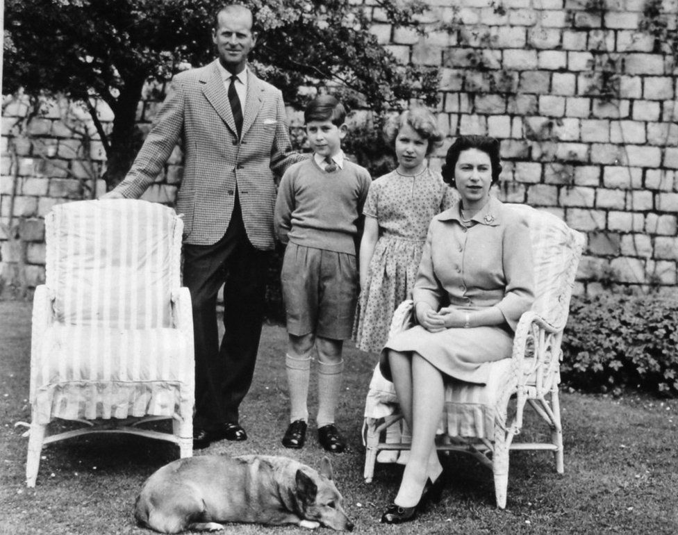Queen Elizabeth II and the Duke of Edinburgh with their two children, Prince Charles and Princess Anne