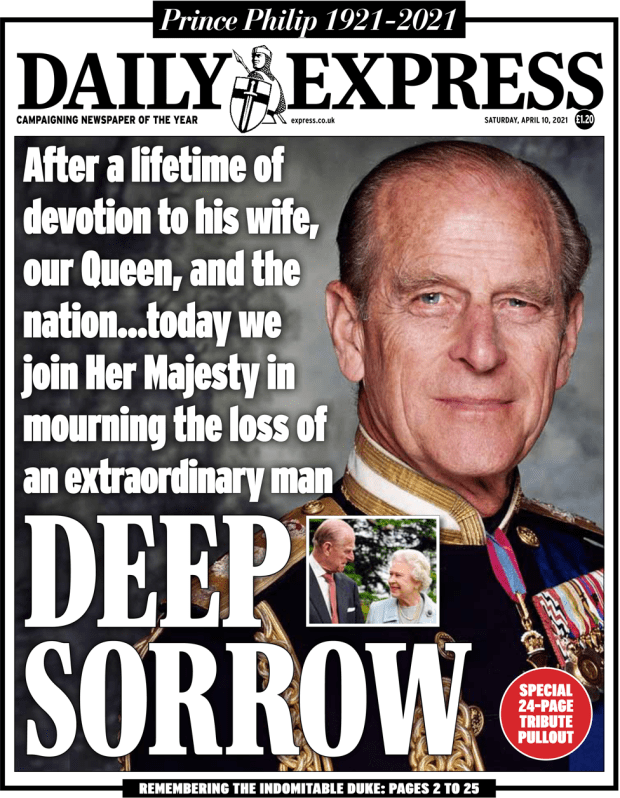 The Daily Express front page 10 April 2021
