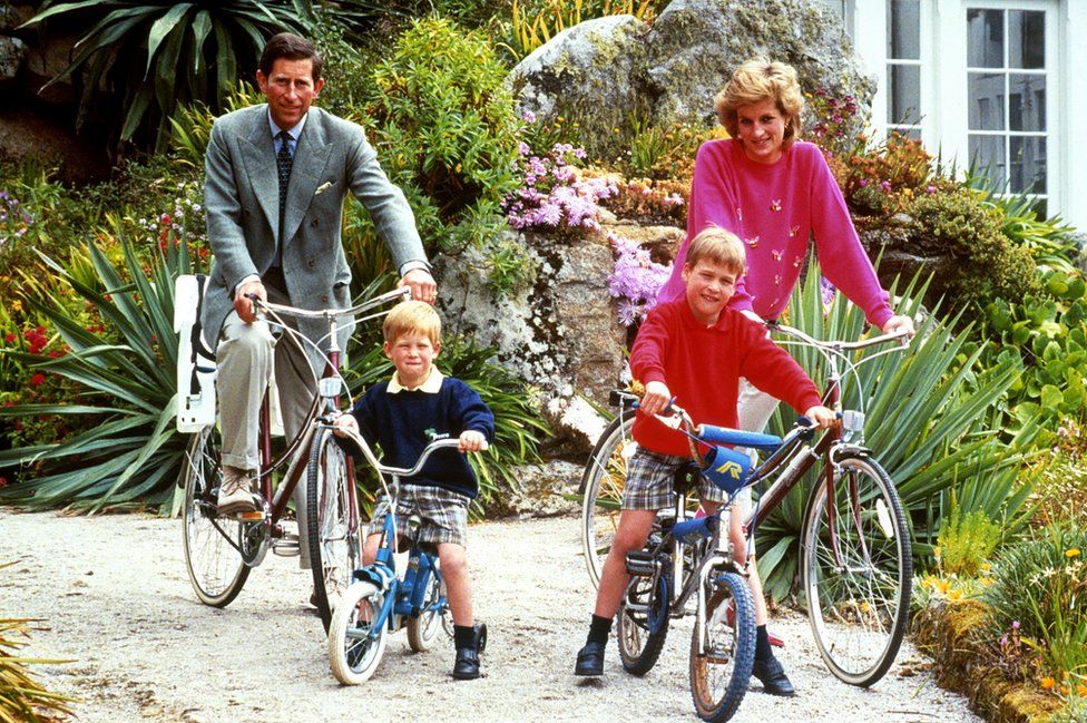 Prince and Princess of Wales with sons Prince William and Prince Harry