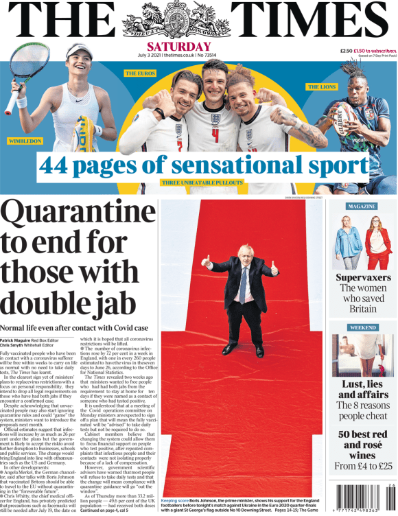 The Times front page 3 July 2021