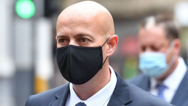 West Mercia Police Constable Benjamin Monk arrives at Birmingham Crown Court to stand trial, accused of the murder, and an alternative charge of manslaughter, of former footballer Dalian Atkinson
