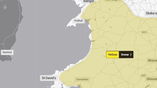 Map of weather warning