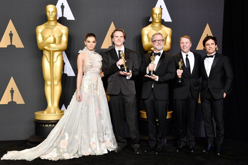 Actor Hailee Steinfeld, co-directors Byron Howard and Rich Moore and producer Clark Spencer, winners of the Best Animated Feature Film award for Zootopia and actor Gael Garcia Bernal