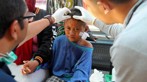 A child receives treatment