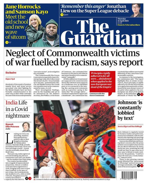 The Guardian front page 22.04.21