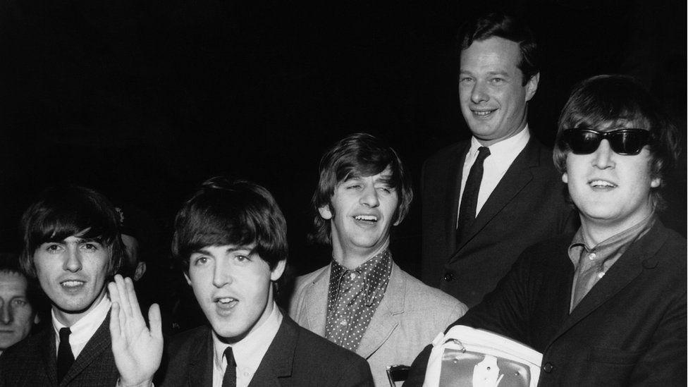 George Harrison, Paul McCartney, Ringo Starr, Brian Epstein and John Lennon