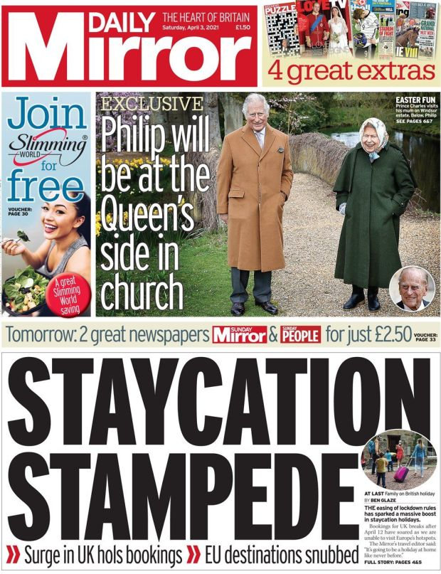 The Daily Mirror front page 3 April 2021