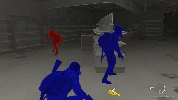 A shop is seen in this game screenshot, but the colours are almost entirely muted to a dull grey. The exceptions are two player characters, highlighted in fluorescent blue, an enemy in an equally bright red, and a nearby item in yellow. Edges of the shop's furnishings are outlines in a thin white line