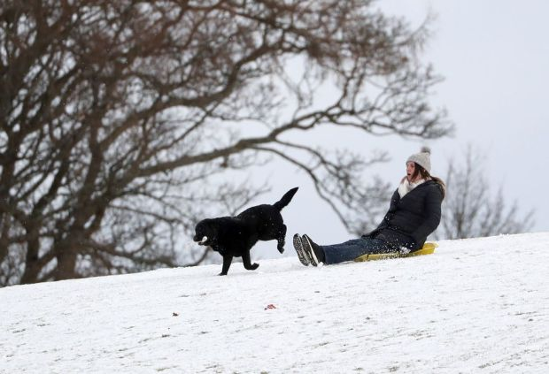A person sledging in a snow covered Callender Park in Falkirk. Picture date: Monday February 8, 2021